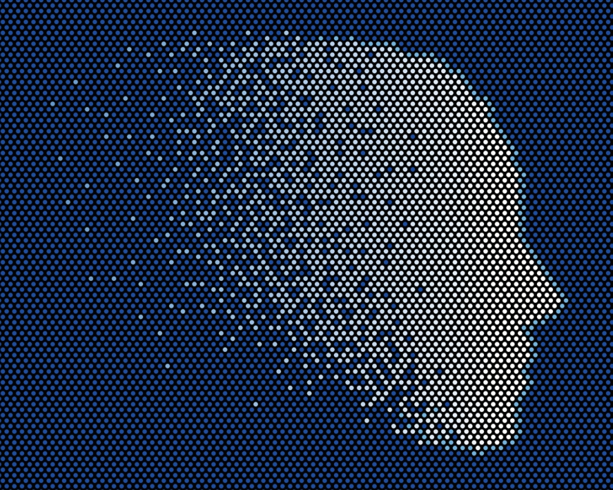 dot mosaic that forms the shape of a head and face