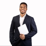 Handsome afro guy holding laptop on white background